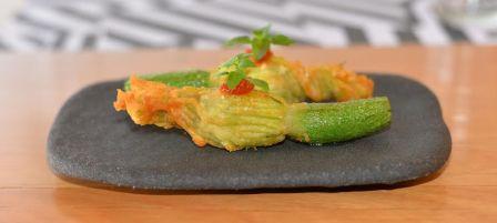 Georges tempura fried zucchini flowers compressed